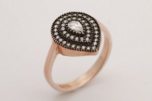 Turkish-Jewelry-Drop-Shape-Topaz-Rose-Gold-925-Sterling-Silver-Ring-Size-All