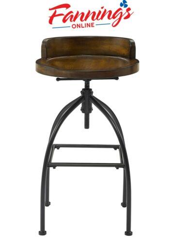 Crosley Edison Adjustable Bar Stool in Natural and Black Rustic Decor Chair