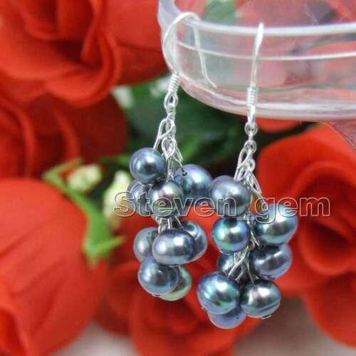 """SALE Round 6-7mm Black pearl earring 2/"""" Grape Dangle earring hook-ear149"""