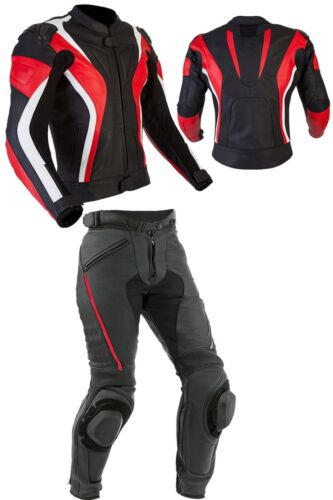 Mens Motorcycle Sports Leather Suit Motorbike Racing Leather Biker Jacket Pant