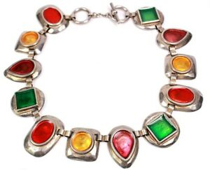Vintage-Laurel-Stylish-Multi-Coloured-Shapes-Necklace-Circa-1970