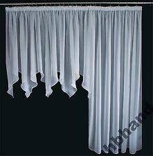 2 tlg Balkon Fenster Gardine weiß braun mocca 500/245 Kräußelband Wohnzimmer EU