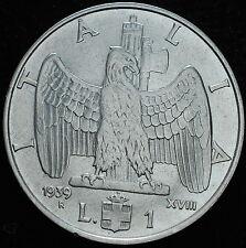 1939    Kingdom   Italy  1 lira   KM #77b    KING VEIII