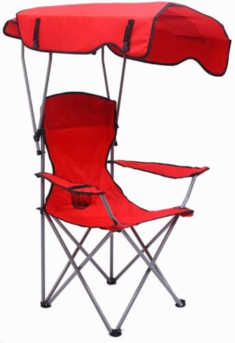 Portable Folding Canopy ChairCup HolderBagBeach Camping HikingRed