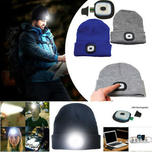 15afef177bf9f Image is loading Unisex-LED-Beanie-Hat-With-USB-Rechargeable-Battery-