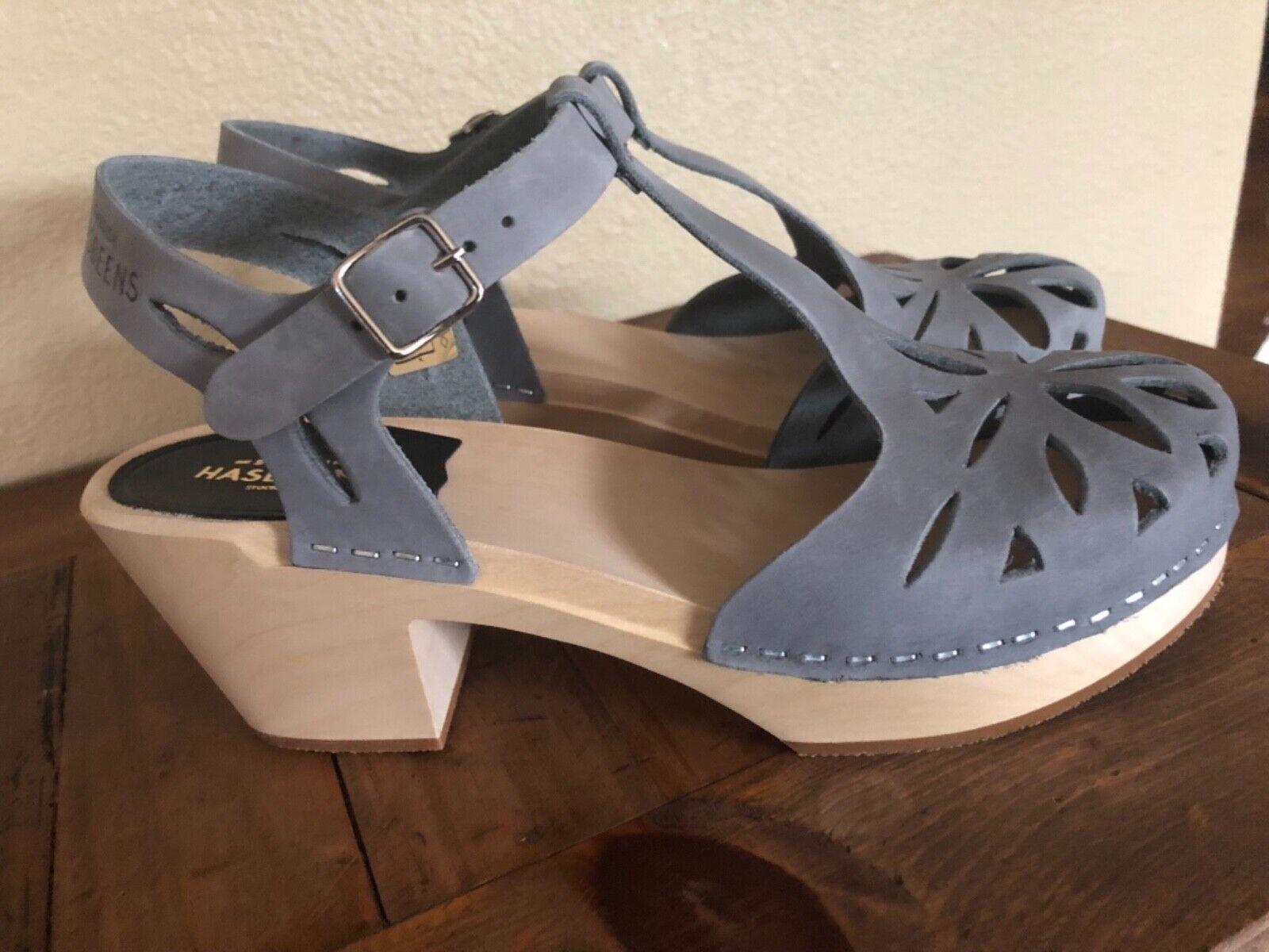 Swedish Hasbeens Lacy Zuecos Sandalias De Cuero gris gris 39 Troqueladas Correa T    nuevo