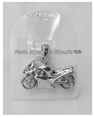 Pendentif Grande MOTO Argent Massif 925//1000 Bijoux Neuf Avec Étiquette