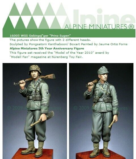 Alpine Miniatures 16005 WSS Gebirgsjager  Prinz Eugen + 2 different heads 1 16