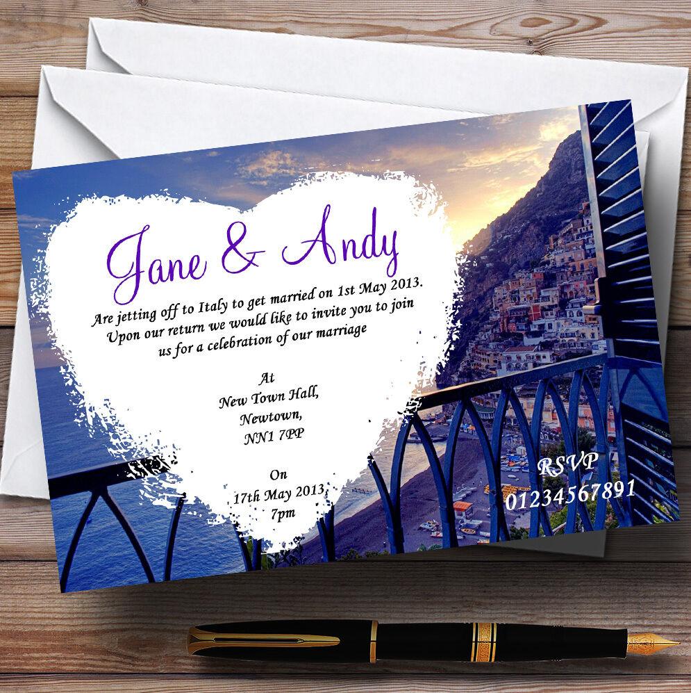 Amalfi coast italie coeur personnalisé soirée invitations réception invitations soirée 37569d