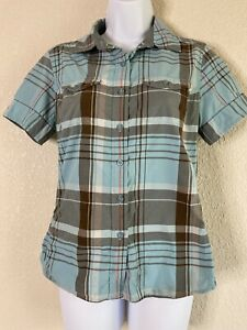 The-North-Face-Womens-Size-S-Blue-Plaid-Button-Up-Shirt-Short-Sleeve
