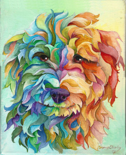 GOLDEN DOODLE 8X10 DOG  print by Artist Sherry Shipley