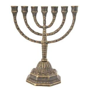 Intelligente Amenorà Menorah Candeliere Ebraico 7 Braccia Ottone Massiccio Misura Media Soulager La Chaleur Et Le Soleil