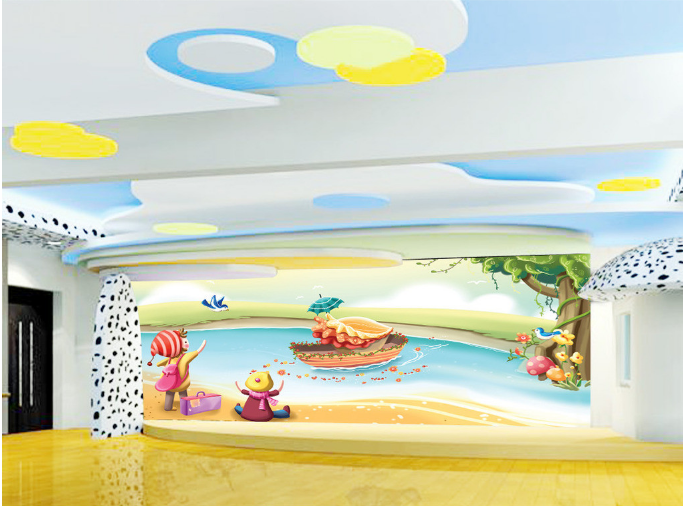 3D Mädchen Fluss Karikatur5 Tapete Tapeten Mauer Foto Familie Tapete Wandgemälde