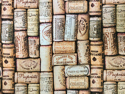 WINE CORK Cotton Fabric Material for Upholstery Curtains 140cm wide canvas corks