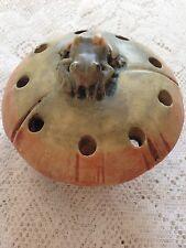 Antique WELLER Pottery FROG ON MUSHROOM Figural Muskota Woodcraft flower Holder