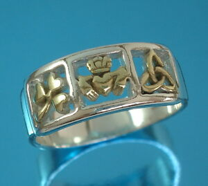 Solid-925-Sterling-Silver-and-Gold-Vermeil-Celtic-Band-Ring-M-Z-Sizes-Claddagh
