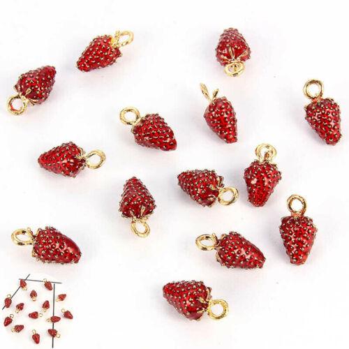 Earrings DIY Pendant Enamel Charm  Korean Bracelet Jewelry Red Strawberry 10Pcs