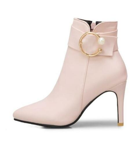 Womens Pointed Toe High Heels Buckle Strap Ankle Riding Boots Stilettos SZ F261