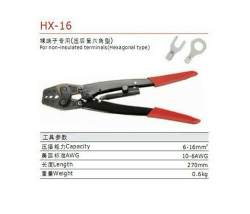 Non-insulated terminals Ratchet Terminal Crimping plier AWG10-6 6-16mm2