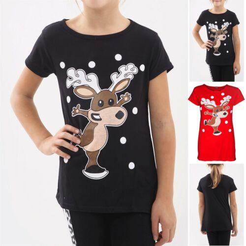 Children Kids Girls Xmas Dancing Reindeer Print Cap Sleeve Christmas T Shirt Top