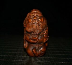 Collect boxwood carve Chinese Taoism zhong kui exorcism statue Netsuke figurines