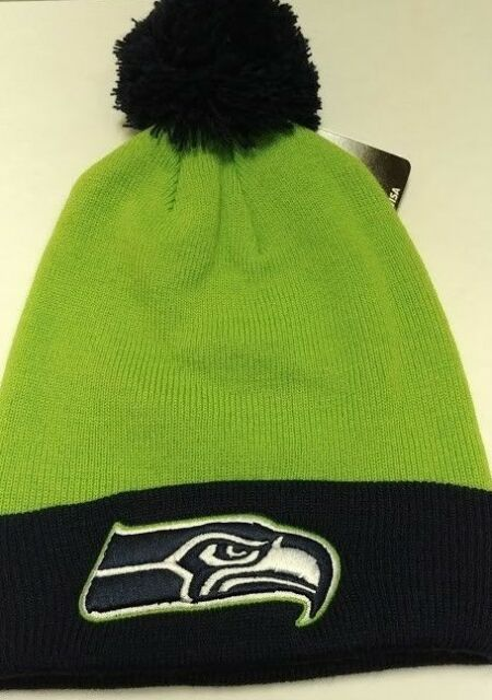 47 BRAND 2-tone Bounder Beanie Hat With Pom Winter Knit Toque Seahawks a68806c4d122