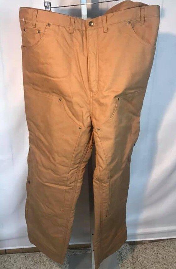 NWOT Men's Darkwash FIVE BredHERS Fleece Lined Brown Work Pants 44 x 32 (R25)