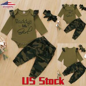 Newborn Baby Girl Long Sleeve Ruffle Tops+Camo Pants+Headband Outfit Clothes Set