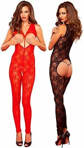 a87607b8cfa Image is loading Sweetheart-Lace-Crotchless-Bodystocking-Leg-Avenue-Black- Red-