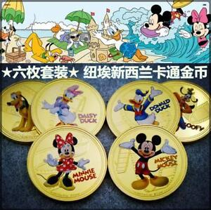 Mickey-Gold-Plated-Coin-6pcs-Set-UNC