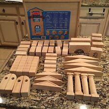 Wood Toy Block Set Melissa & Doug Architectural Unit  43 pcs