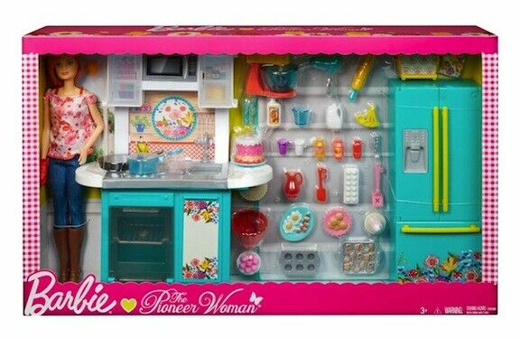 Barbie Pioneer Woman Ree Drummond Kitchen Playset With Cooking Chef Doll New