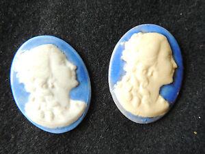 Lot-de-2-camees-en-porcelaine-de-Limoges-Visage-de-femme-sur-fond-bleu-bijoux