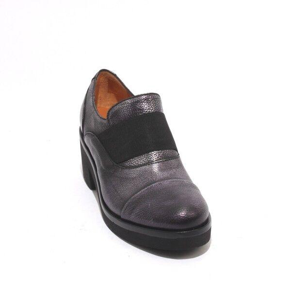 MOT-CLe 555 Antique Metal Black Leather Elastic Platform Heel shoes 36.5   US 6.5