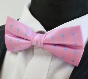 Bow Tie. Pink With Blue Dot. Premium Quality. Pre-tied. Pn41-afficher Le Titre D'origine