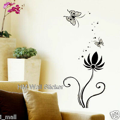 BUTTERFLIES  /& Flower WALL DECAL for home or business