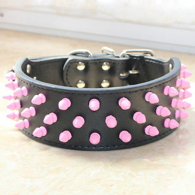 Pink Spiked Studded Leather Dog Collar Medium Large Dog Pitbull Bully Terrier