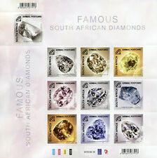 South Africa 2019 MNH Famous South African Diamonds 10v S/A M/S Minerals Stamps