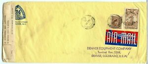 FECB 1943 double weight 6c+6c AIR MAIL etiquette label to USA, Canada cover