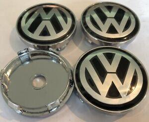 X-4-Centres-Roues-Cache-Moyeux-VW-Volskwagen-60-mm-Noirs-Neufs