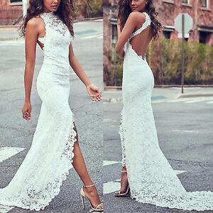 Womens-Lace-Mermaid-Sleeveless-Bodycon-Maxi-Dress-Bridal-Wedding-Evening-White
