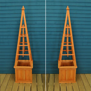 Image Is Loading Wooden Obelisk Garden Planters Set Of 2 By
