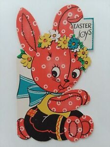 1945-Vtg-PINK-CALICO-BUNNY-Die-Cut-EASTER-JOYS-GREETING-CARD