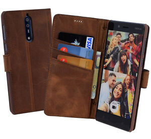 Nokia-8-Case-Book-Style-Protective-Cover-Leather-Wallet-Antique-Coffee
