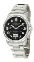 Swiss Army Officer's 125 Automatic Steel Mens Watch Black Dial Date 241370