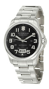 Swiss-Army-Officer-039-s-125-Automatic-Steel-Mens-Watch-Black-Dial-Date-241370