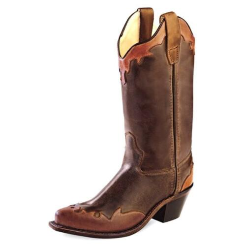 CHILDREN/'S OLD WEST BARNWOOD WINGTIP WESTERN BOOTS BROWN LEATHER CF8231 SALE