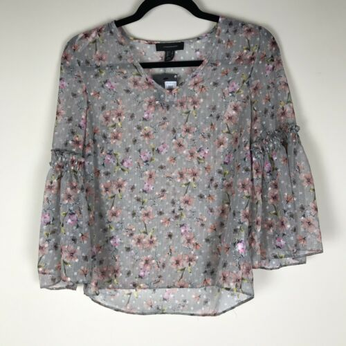 BNWT Primark Size 6 Light Khaki Grey Floral Sheer Blouse Bell Sleeve Ditsy A10