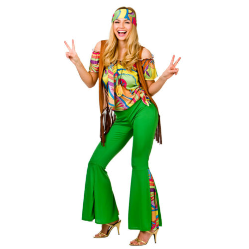 Groovy Hippie Ladies Costume for 60s Mods Rockers Hippy Fancy Dress Womens