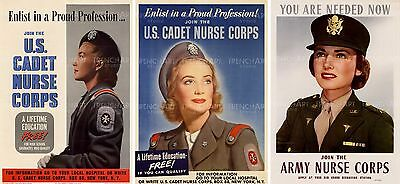 WAR WWII USA ENLIST ARMY NURSE CORPS Poster Military Canvas art Prints